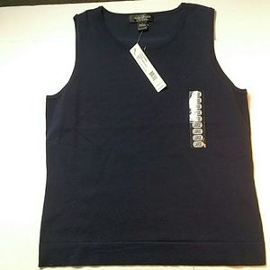 NWT August Silk Scoop Neck Tank Navy Blue